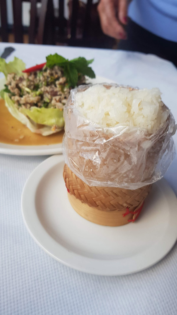 Sticky Rice, steamed and served as it is in Thailand